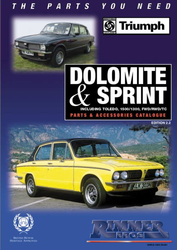 TRIUMPH DOLOMITE PARTS RIMMER GUIDE on SCOTTYS SUPPLIER LIBRARY