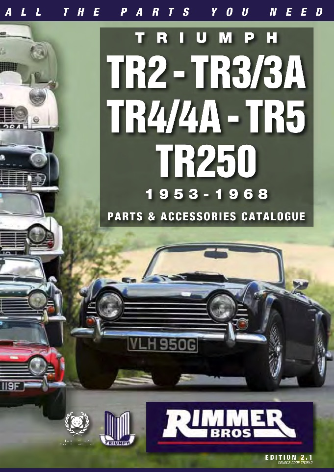 TRIUMPH TR2 3 4 5 250 PARTS GUIDE - RIMMER on SCOTTYS Supplier Library PIC2