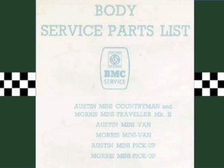 AUSTIN MINI BODY SERVICE PARTS LIST AKD 5106