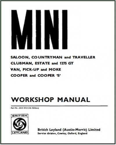 CLASSIC MINI WORKSHOP MANUAL AKD 4935