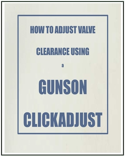 HOW TO ADJUST VALVE CLEARANCE USING A GUNSON CLICK ADJUST PDF