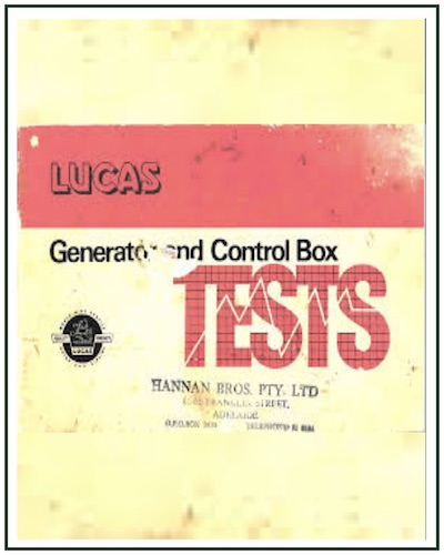 LUCAS GENERATROR REGULATOR CONTROL BOX TEST MANUAL PDF