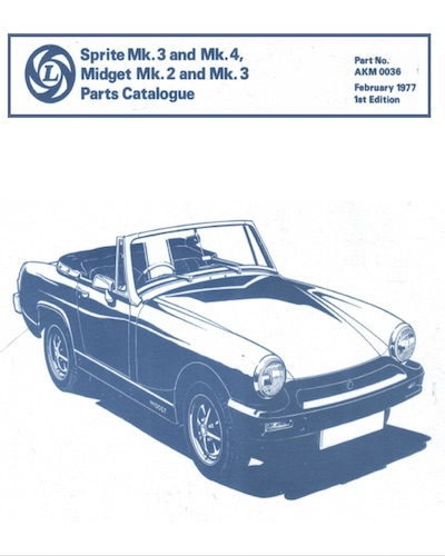 MIDGET SPRITE PARTS CATALOGUE AKM 0036