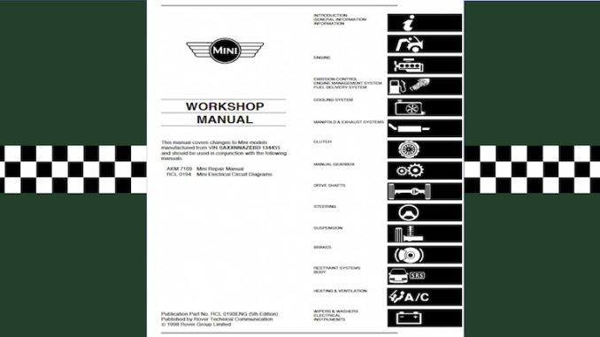 MINI WORKSHOP MANUAL ROVER GROUP IMG