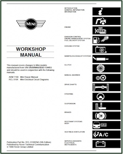 MINI WORKSHOP MANUAL ROVER GROUP