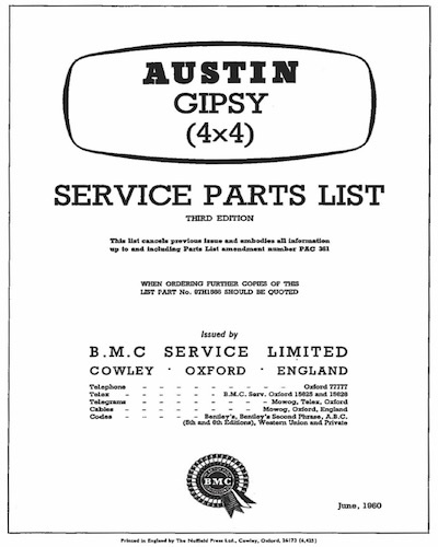 THE AUSTIN GYPSY SERVICE PARTS LIST