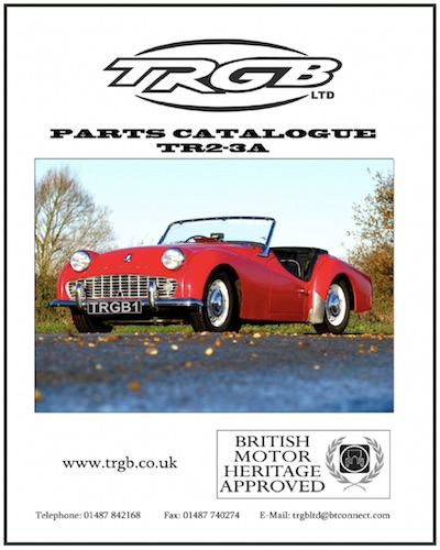 TRIUMPH TR2 PARTS CATALOGUE by TRGB in SCOTTYS Supplier Library