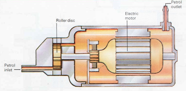 Simplified cross section of a Bosch centrifugal fuel pump.