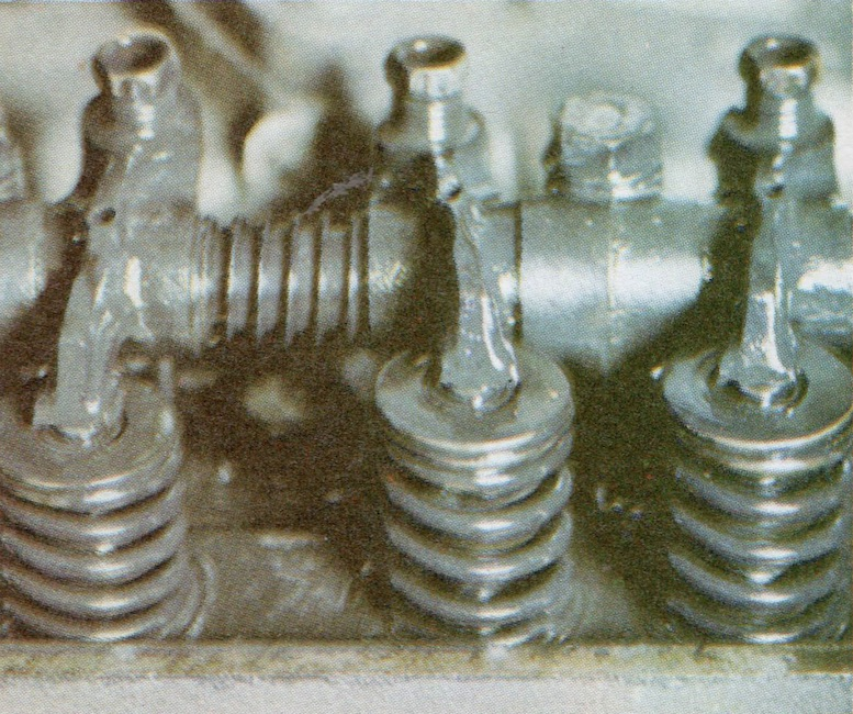 The difference between open and closed valves. The valve on the far left is fully open while the others are closed