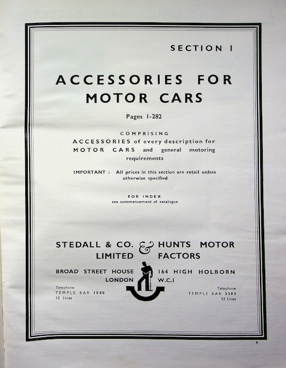 STEDALL & COMPANY 1939 Motor Accessories Catalogue