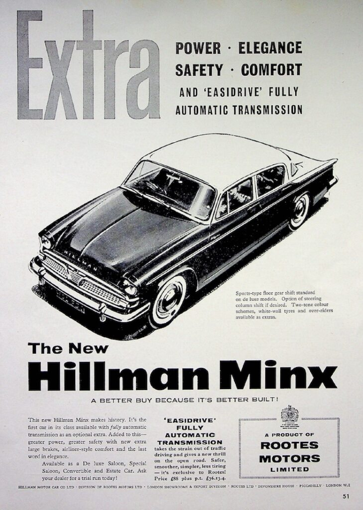 The New Hillman Minx 1959 Advertisement Piccadilly London History